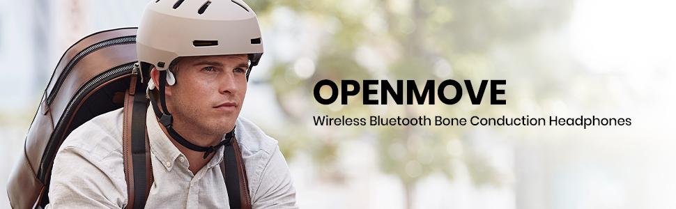 AfterShokz OpenMove wireless, open-ear, bone conduction headphones
