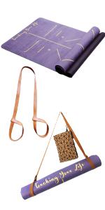 Yogamat, dun, roze, yogamat, natuurlijk rubber, brede tas, yogamat, yogamat met patroon