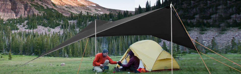 10ft//12ft Waterproof Tent Tarp with 2 PCS Telescoping Tent Poles for Backpacking Hiking REDCAMP Camping Tarp Shelter Lightweight with Adjustable Tarp Poles