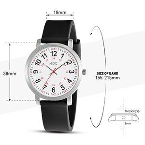Nursing Watches for Nurses Medical Watch Second Hand Womens Waterproof Wrist Watches 24 Hour Black
