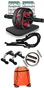 Ab Roller Wheel with Resistance Bands, Push Up Bars, Drawstring Gym Bag, Adjustable Weight Jump Rope