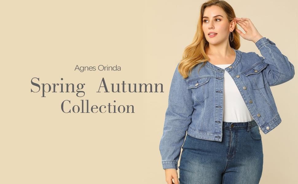 Agnes Orinda Women's Plus Size Long Sleeves Button Down Crew Neck Short Denim Jacket