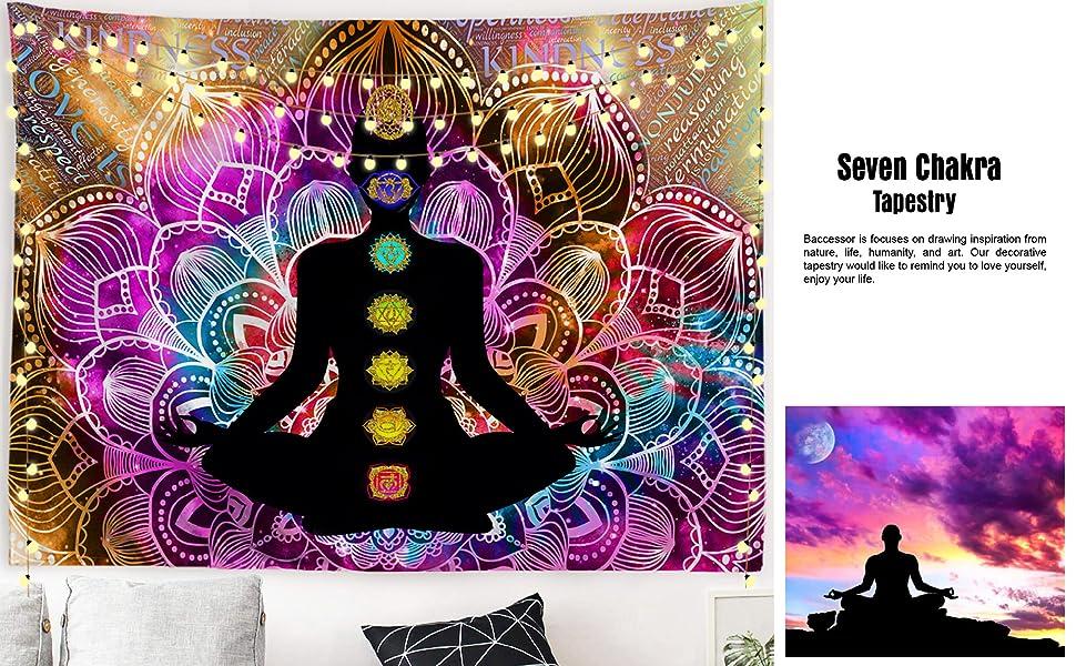 Yoga Tapestry Wall Hanging Indian Seven Chakra Trippy Mandala Tapestries Dorm