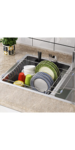 Dish Drying Rack, 1Easylife Dish Drainer for Kitchen Rustproof Dish Rack and Drainboard Set
