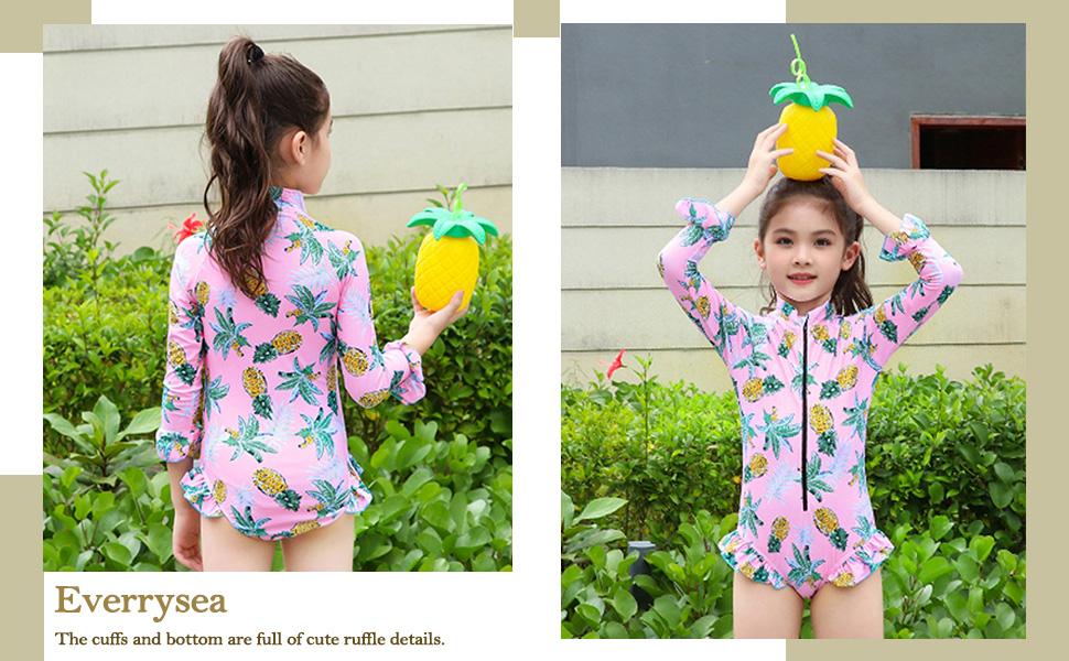 Girls Rashguard Bathing Suit Long Sleeve One Piece Swimsuit Zipper Kids Beach Swimwear UPF50
