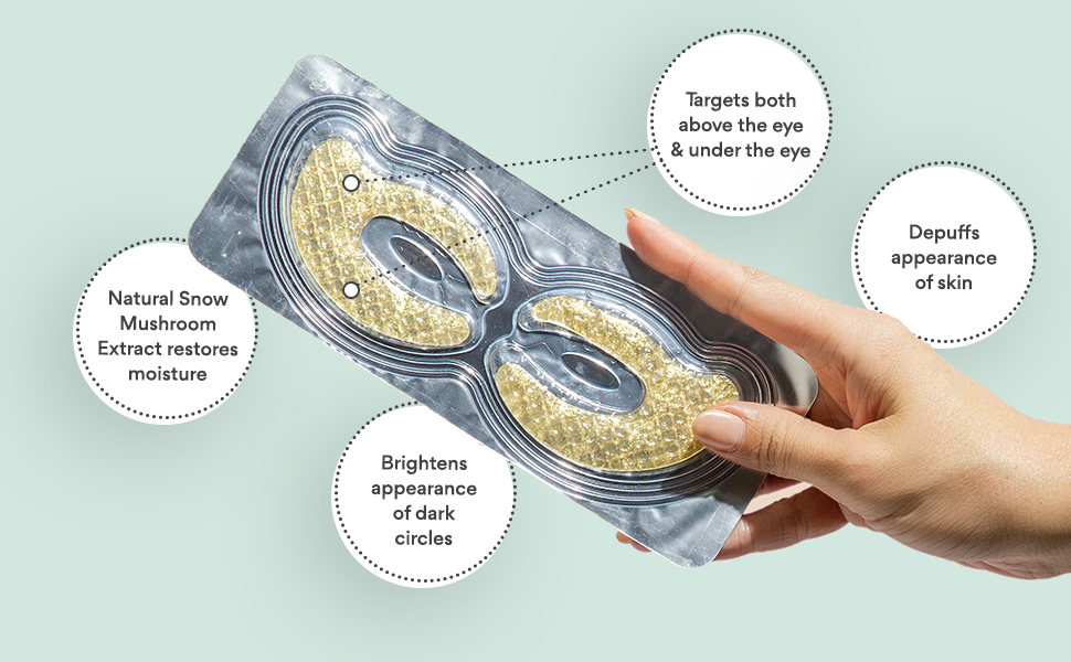A graphic that shows the sdara gel eye mask along with its benefits