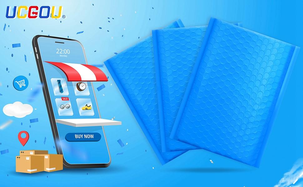 blue bubble mailers
