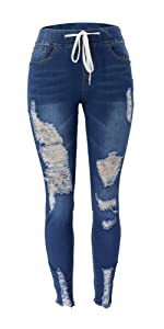 drawstring waist mid rise ripped jeans for women