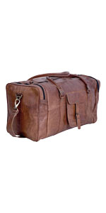 21 Inch Vintage Leather Duffel Travel Gym Sports Overnight Weekend Duffle Bags