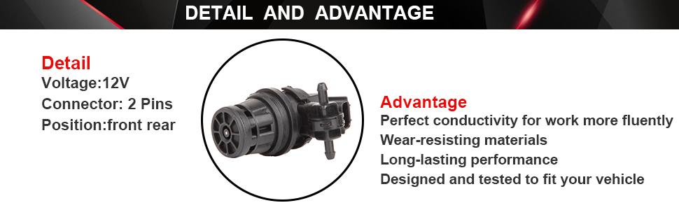 ROADFAR Fit for 2012-2016 Honda CR-V 2011-2016 Honda Odyssey Windshield Washer Pump Motor 76846-TP6-C01
