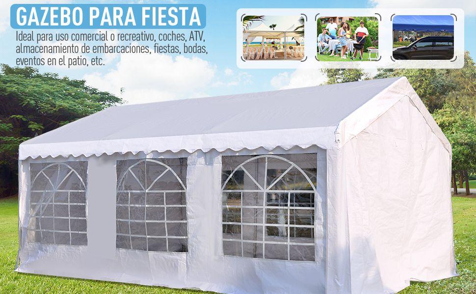 Outsunny Carpa de Jardín Cochera Gazebo 6x4m Pergola Cenador ...