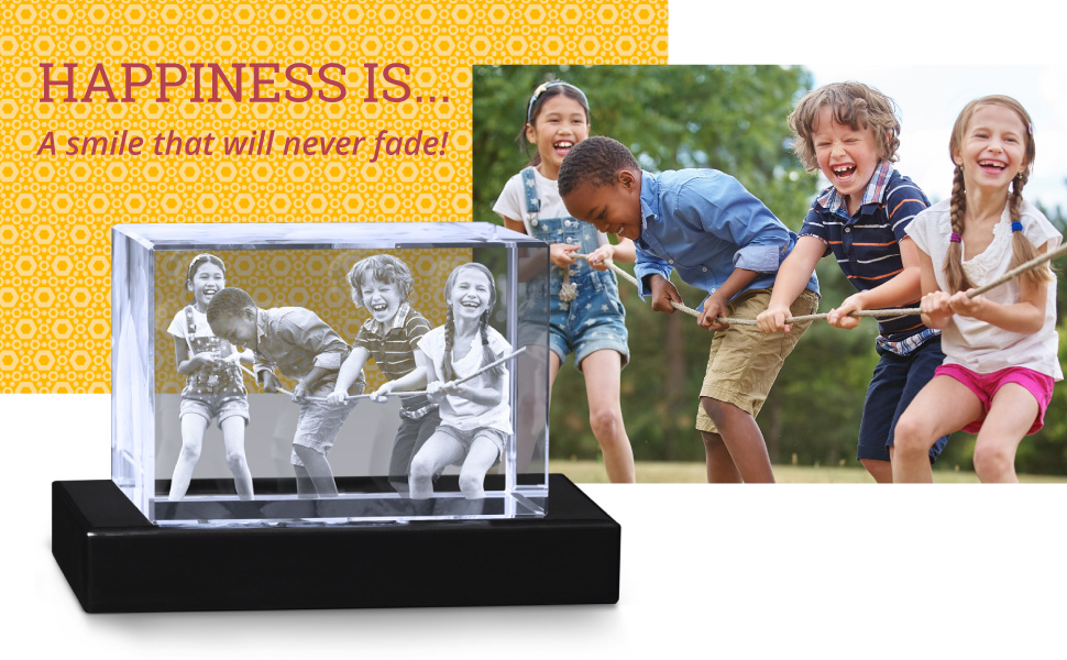 customized crystal rectangle cube personalized 3d photo engraved picture glass custom keepsake decor