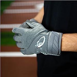 Grey Adult Baseball Batting Gloves