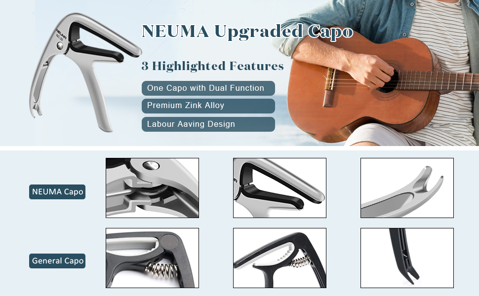 No Fret Buzz Premium Guitar Capo for Acoustic and Electric Guitars Use this Stylish Guitar Capo with Confidence a Capo Built to Last