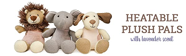 Sensory toy stuffed animals for kids. Heatable plush toys with lavender scent aromatherapy.
