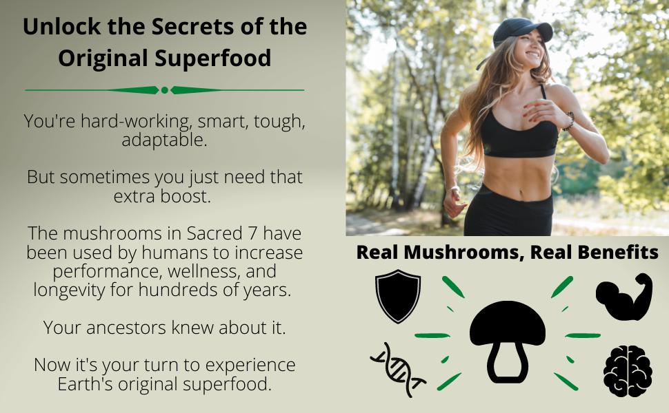 superfood mushrooms, mushroom powder, adaptogen, performance, wellness, longevity