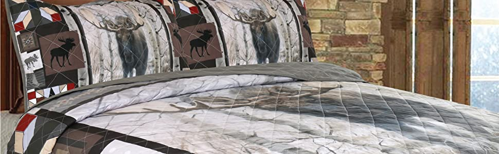 moose quilt bedding display