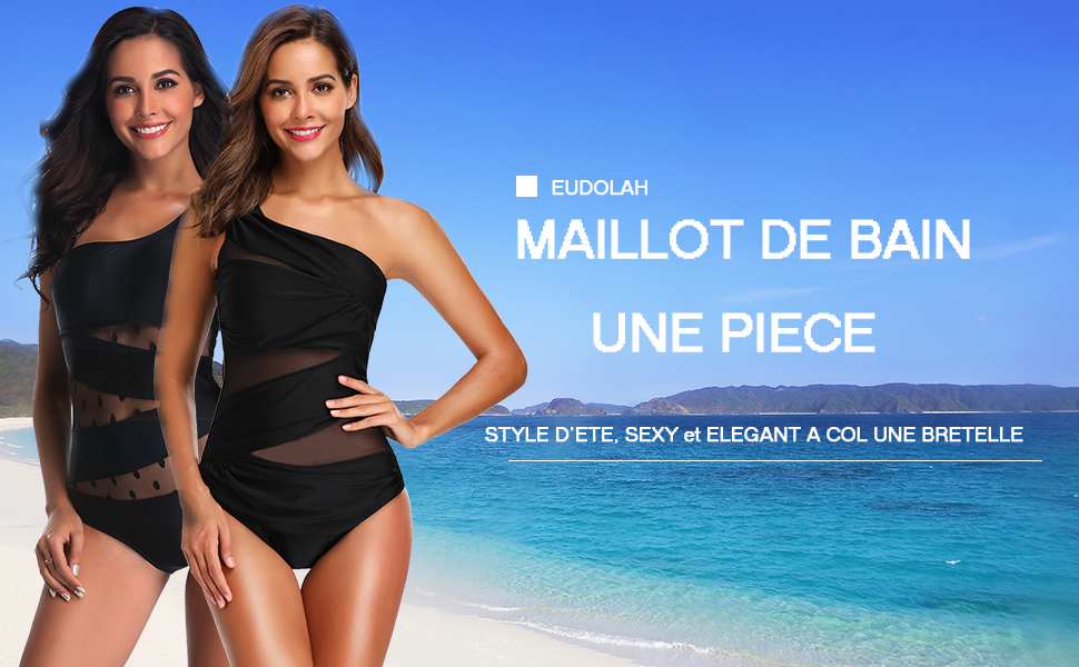 EUDOLAH Femme Maillot de Bain 2 Pi/èces Bikini Amincissant Push Up Taille Haute Beachwear Swimwear avec N/œuds