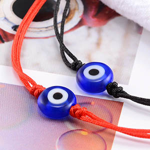 1 black 1 red string evil eye bracelets