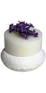white shampoo & conditioner bars sprig of lavender