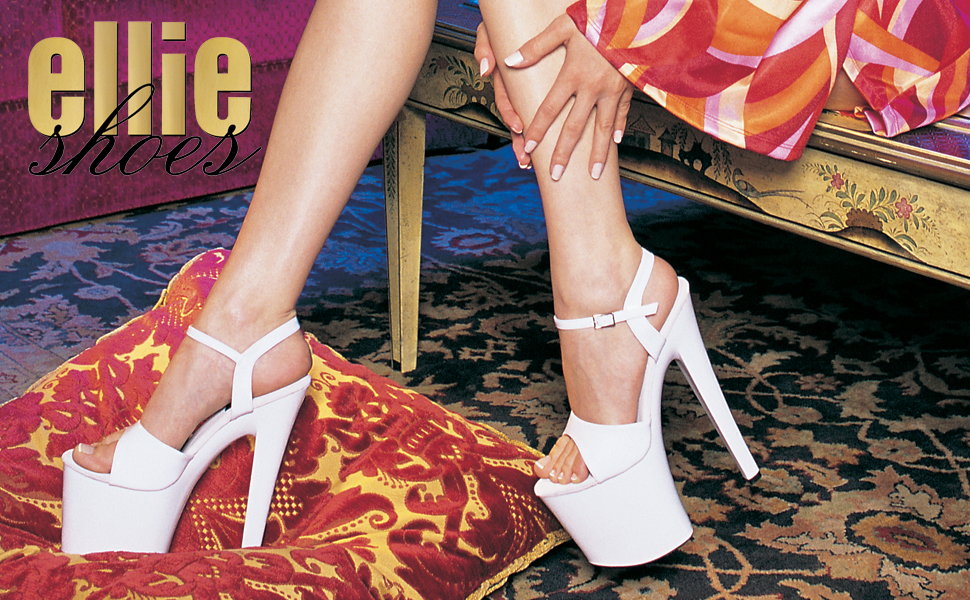 12 Pole Fitness Dancer Heel Ellie Shoes Womens Flirt Platform Sandal White