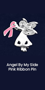 Angel By My Side Pink Ribbon Pin