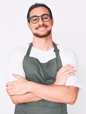 thick polyester grey apron