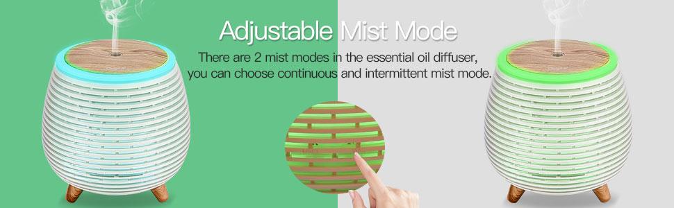 Mini Essential Oil Diffuser 90ml Portable Humidifier with 2 Mist Modes, Waterless Auto Shut-Off