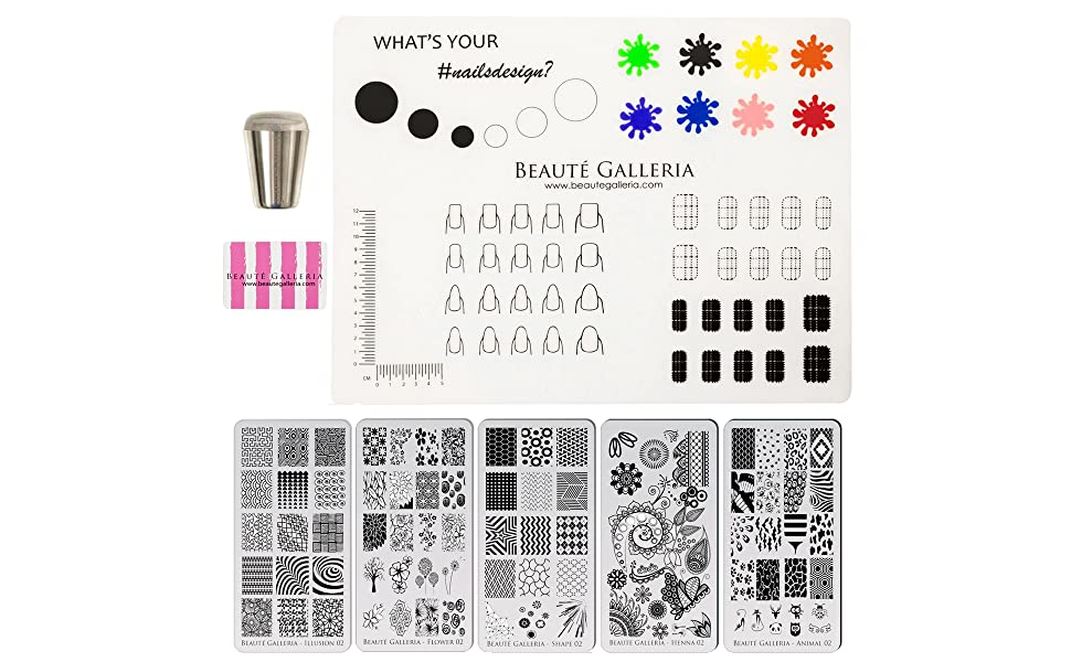 Beaute Galleria Nail Art Premium Etched Stamping Plates, Silicone Nail Mat, Nail Stamper, Scraper
