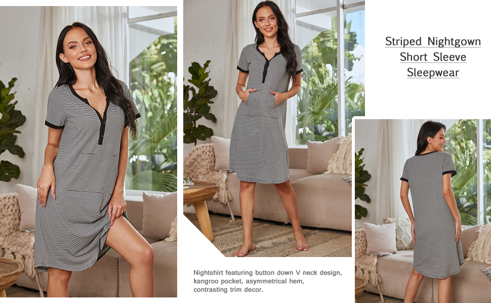 Striped Nightgown Short Sleeve Sleepwear