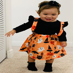 Toddler Baby Girls Halloween Outfit Custom Ruffle T-Shirt Pumpkin Suspender Skirt+Headband Skirt Set