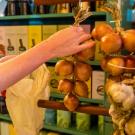 large mesh bag storage onions