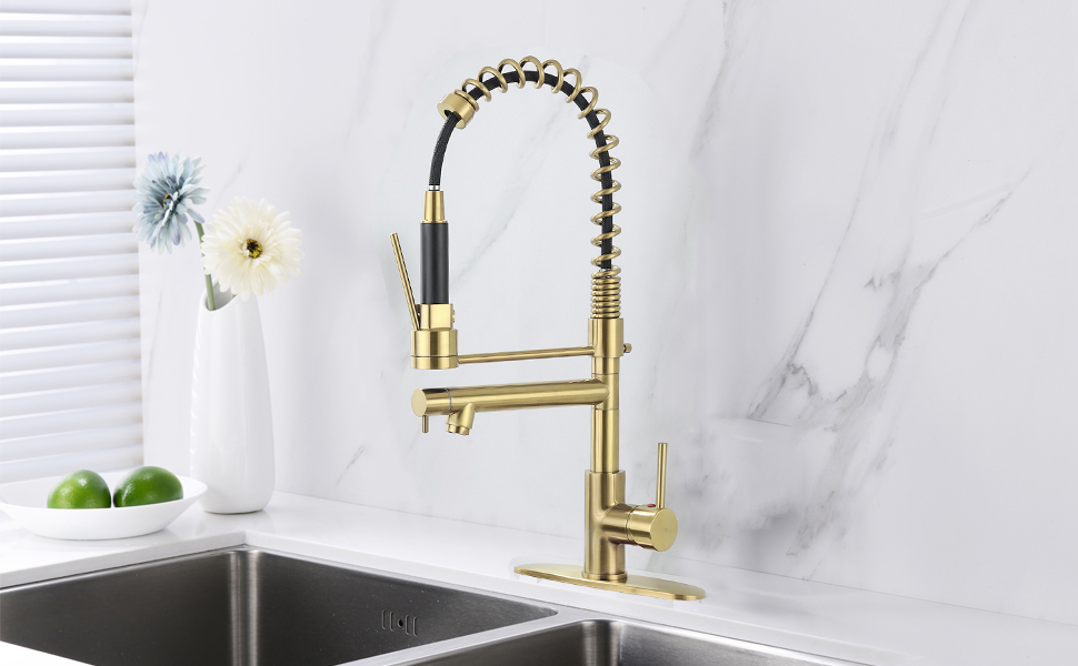 Delle Rosa Kitchen Faucet Brushed Gold Kitchen Faucet Lead Free Brass 360 Degree Swivel High Arch Pre Rinse Pull Down Commercial Kitchen Faucet Heavy Duty Kitchen Faucet With Deck Plate Amazon Com