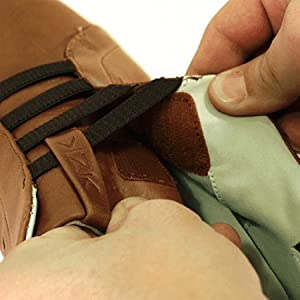 The image shows a close up of a man using the micro-adjustment feature on a Kizik shoe.