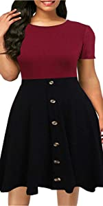 Short Sleeve Plus Size A-Line Button Down Casual Party Swing Dress Dress