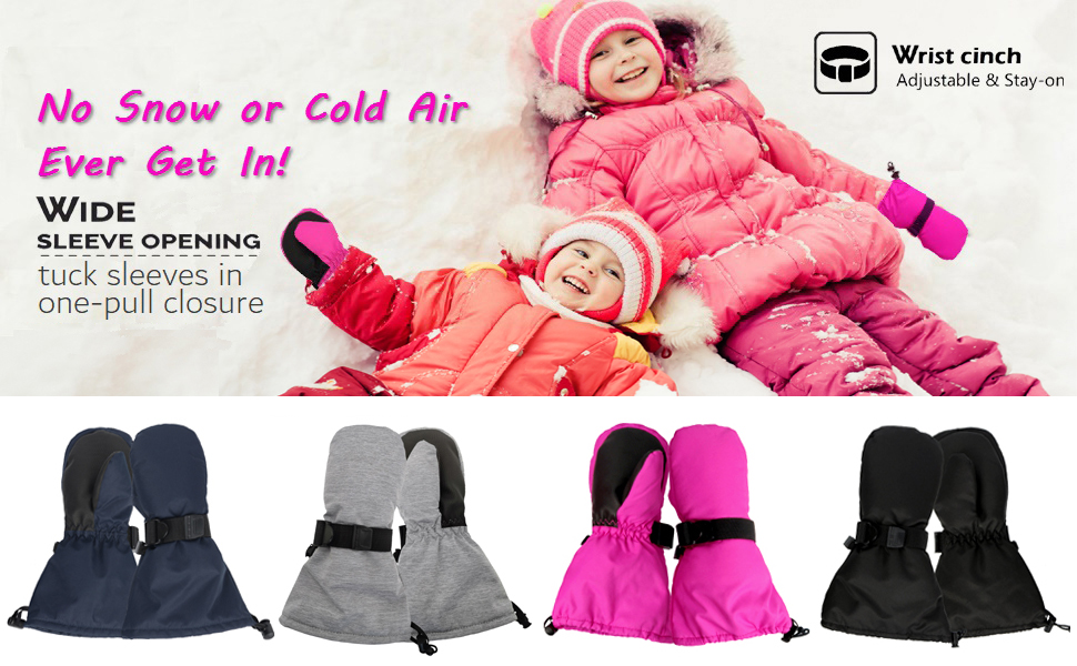 3XS 6-18M HIGHCAMP Baby Toddler Small Kids Easy-On Mittens Waterproof for Cold//Winter//Snow- Rosa No Thumb