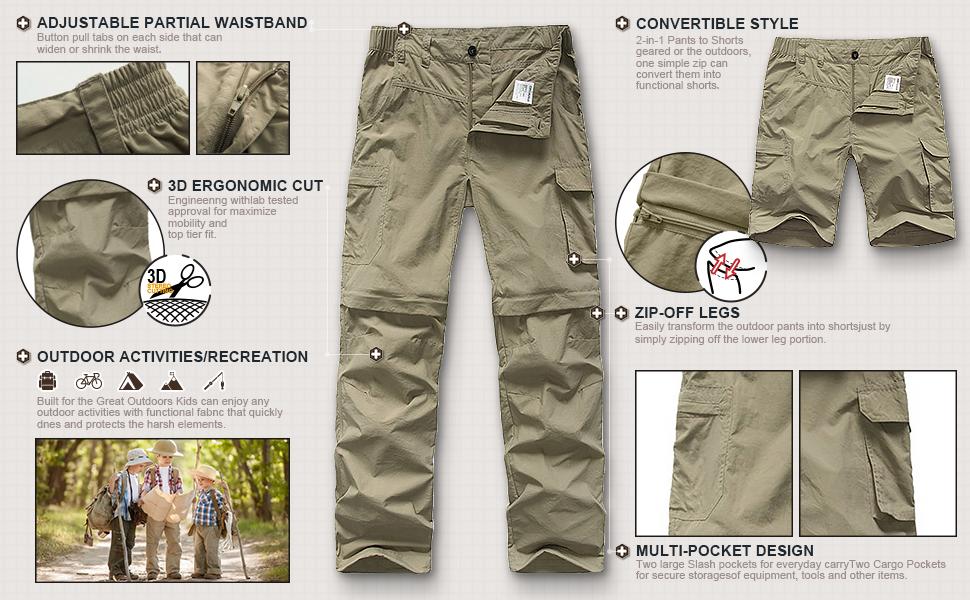 Active Kids Convertible Hiking Pants - for Outdoor Boys' Big Pant