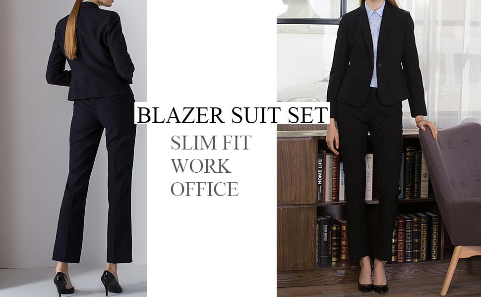 XQS Women Womens 2 Piece Office OL Slim Casual 1 Button Chevron Stripes Suit Sets