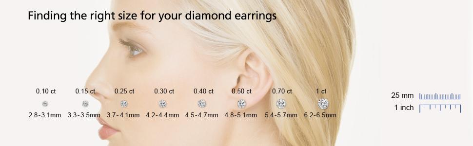 diamond earrings size chart