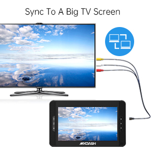 Dual screen monitors support playing the same movie via simply AV and DC cable