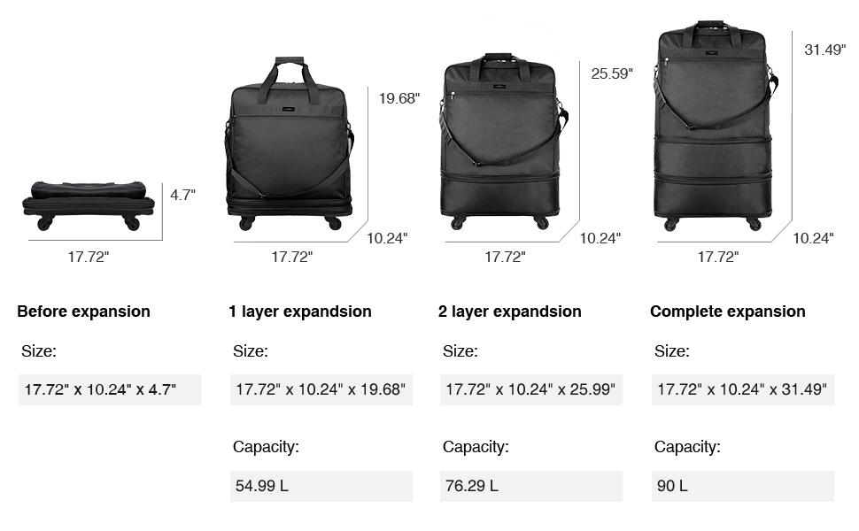 expandable luggage bag