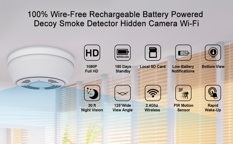 hidden camera smoke detector security camera covert camera ip camera battery security camera