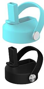 Tiffany blue and black straw lid