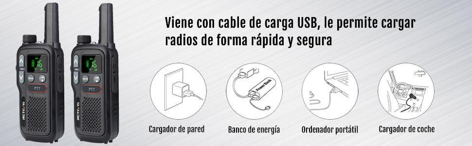 walkie talkie de carga usb