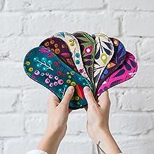 Natissy Salvaslips de tela reutilizables, 7-Pack Protege Slips de algodón ORGÁNICO con alas HECHAS EN LA UE, Compresas sin PUL, Toallas Sanitarias ...