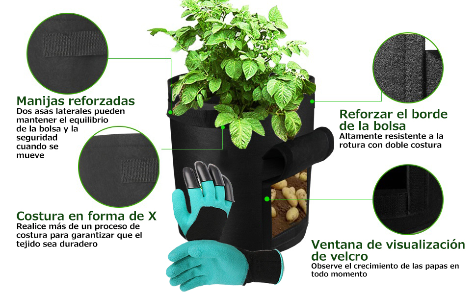 SUPTEMPO Bolsas de Cultivo de Papa, Bolsa de Siembra de Vegetales ...