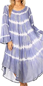 Cover-up swing lightweight tie dye long dress swimwear beach shift dress pullover  maxi long sleeve