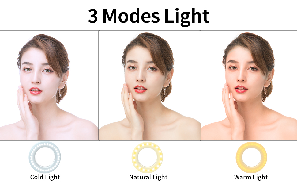 Meifigno Selfie Ring Light Clip on Phone Camera LED Light Rechargeable 3 Light Modes Adjustable Brightness Selfie Circle Light for iPhone X Xr Xs Max 7 8 Plus 11 Pro Android iPad Laptop