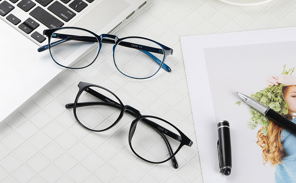 black and blue glasses