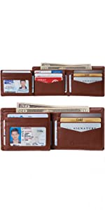 mens genuine leather bifold hybrid trifold wallet card case holder